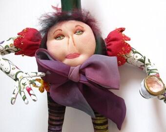 Fiber Art, Mixed Media Doll, Handmade Gourd Doll - OOAK Tea Time Artdoll, Gourd Art,