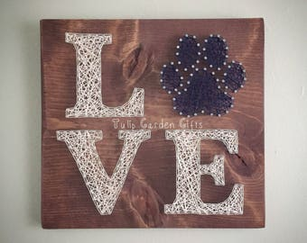 Love Pawprint String Art, Paw Print String Art, Pet String Art, Paw String Art, Pet Stringart, Love Paw Sign, Pet Lover Sign, Pet Sign