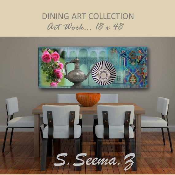 ARABIAN DINING- 48x18, Mixed Media, Giclee, Mediterranean, Moroccan, Middle Eastern, Kitchen, Dining,  Floral, Seema Z