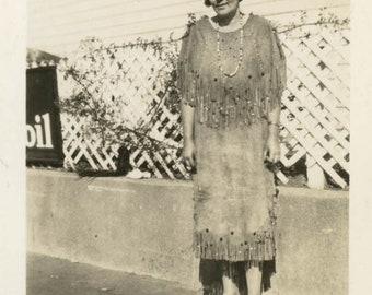 vintage photo 1939 Ethel American Indian Scout Daughter Wearing Beautiful Beaded Dress