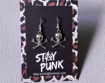 Skull and Crossbones Earrings Pirate Rockabilly Tattoo Punk Rock Goth Metal Psychobilly Jewellery