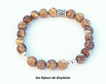 mixed brown beige Jasper stone bracelet