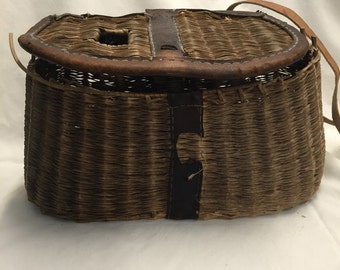 Vintage Creed Wicker Tackle Basket