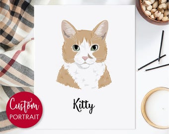 Custom cat loss gifts. Drawing of pet. Custom pet portrait. Personalized gift. Digital file only - Draw me, please.
