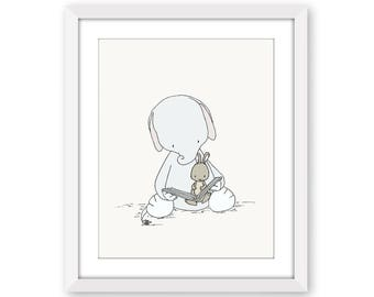 Elephant and Bunny Nursery Art -- Elephant and Bunny Story Time --  Nursery Art Print -- Nursery Decor-- Children Art -- Kids Wall Art