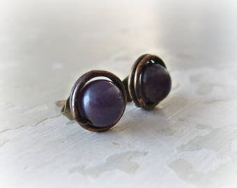 Brass Stud Earrings, Amethyst Studs, Stone Stud Earrings, Patina Stud Earrings, Raw Brass Studs, Oxidized Stud Earrings, Amethyst Earrings