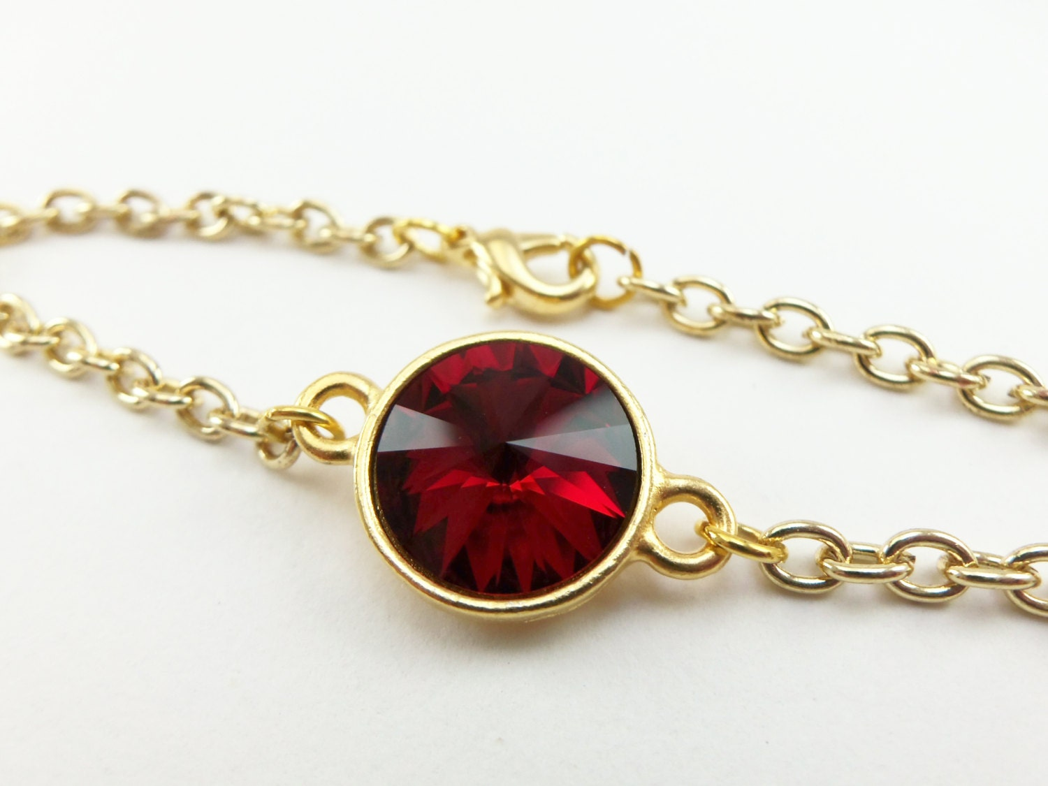 Garnet Red Chain Bracelet January Birthstone Jewelry Gold
