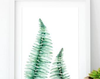 Fern wall print illustration in green watercolor, Botanical fern wall art poster, Fern illustration botanical art prints, Fern botanical