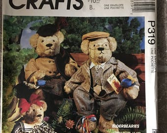 McCall's Craft Pattern #P319 Stuffed Bear and bear clothing Published 1990 NEW Uncut Elderbearies sewing pattern