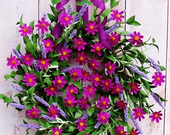 Spring Wreaths, Summer Wreath, PURPLE DAISY FLORAL Door Wreath, Spring Summer Wreaths for Front Door, Summer Door Wreath, Wreath, Wreaths