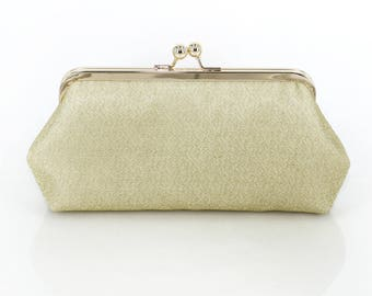Shimmery Antique Gold Clutch Purse for Bride, Bridesmaid, Mother of the bride Groom