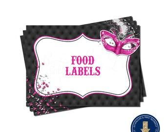 Hot Pink Masquerade Food Label Tent Cards | Printable | Instant Download | | Mardi Gras | Sweet 16 | Quinceañera