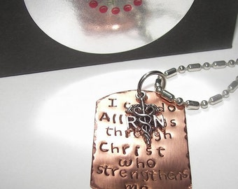 Nurse gift,  Custom stamped, Hand stamped jewelry, I can do all things in Christ, RN Necklace,  personalized, hand stamped ,mothers necklace