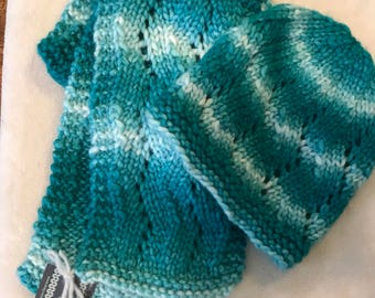 Turquoise scarf and  hat