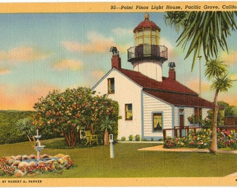 Linen Postcard, Point Pinos LightHouse, Pacific Grove, California, ca 1940
