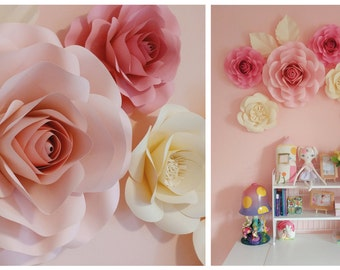 Nursery Flower Wall - Birthday Party Decor - Paper - Large Paper Flowers Backdrop - Wedding Backdrop - Paper Flower Wall - Decorations