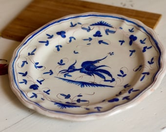 Marten Tolosane in old earthenware Decor Blue Bird plate, signed in my hand, plate old Illinois plate hand painted