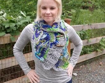 Ooak spirit scarf, fairy bohemian scarf, ooak scarf, festival scarf, gypsy scarf, Free form crochet, psychedelic scarf