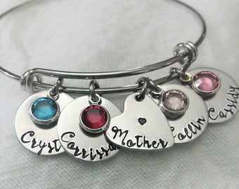 Personalized Mother Bracelet, Mother Jewelry, Mom Jewelry, Mom Bangle, Gift for Mom, Mother's Day Gift, Jewelry for Mom, Birthstone Bangle