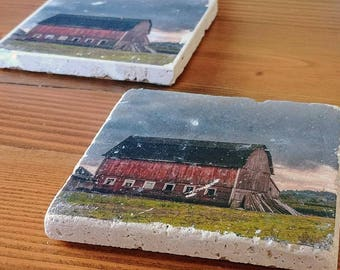 Moody Barn Fine Art Photograph Transferred to 4x4 Travertine Stone Tile Coaster, Backed with Cork to Protect your Table