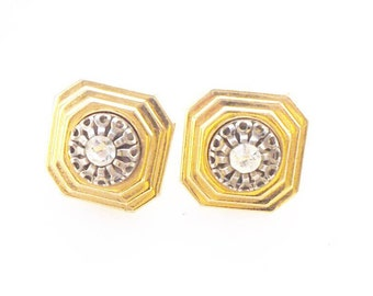 Vintage stone set Art Deco style clip on earrings