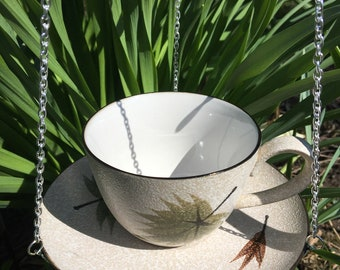 Repurposed Hanging Tan with Green and Brown Leaves Teacup Bird Feeder