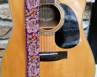 Purple Paisley Woven Guitar Strap; Statement Guitar Strap; Unique Custom Guitar Straps; Handmade Straps; Gift for Her; Guitar Straps