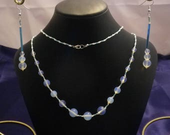 Moonstone Turquoise and White Necklace and Earring Set