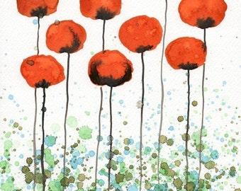 Watercolor Painting: Watercolor Flower Painting -- Art Print --  Jump Up -- Orange Flowers -- 8x10