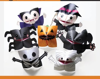 PRINTABLE HALLOWEEN Cootie Catchers | PDF download | Mummy, pumpkin, vampire, witch, skull, origami for kids, simple play, fortune tellers