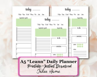Daily Planner, Printable Daily Planner, A5 Daily Planner Inserts, A5 Inserts: Daily Planner Inserts Leann Daily Planner Insert