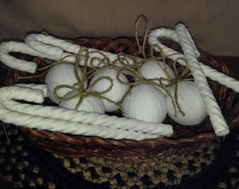 Set of 12 farm house or primitive style ornaments. Or bowl fillers