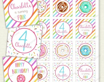 Rainbow Donuts printable cupcake toppers - customised 2 inch birthday party circles, favor tags, custom birthday toppers - Digital CT030