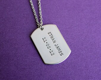 Personalized Dog Tag Necklace - Stainless Steel Dog Tags Necklace - Choose How Many Dog Tags - Dad Necklace - Dad Gift - Father's Day Gift