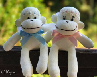 MADE-TO-ORDER Sock Monkey Angel Dolls - Angel Dolls, Sock Monkey Angel, Wedding Dolls, Baby Shower Sock Monkey