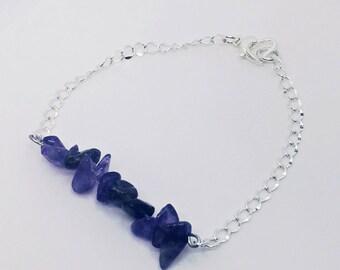 Deep Amethyst Stone (Silver) Bracelet