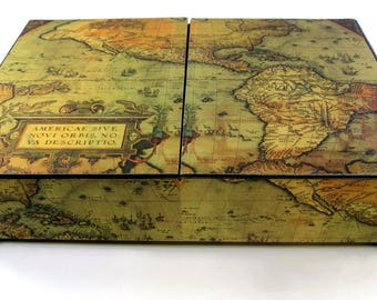 Men's watch box, Antique map of the Americas, Holds 10 men's watches, Watch box, Men's jewelry box, Men's gift, Watch storage, Made to order
