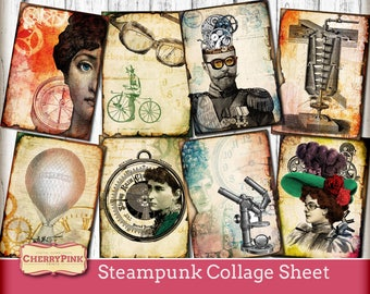 Steampunk papercraft collage sheet - printable paper - digital - vintage images - scrapbooking- instant download