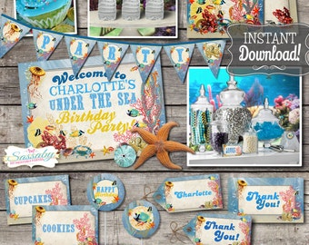 Under the Sea Party Collection - INSTANT DOWNLOAD - Editable & Printable Ocean, Underwater, Sealife, Octopus Kids Birthday Party Decorations