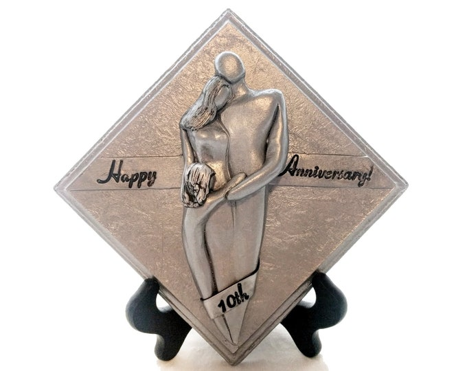 Happy 10th Anniversary Family of Three Plaque, Tin Aluminum Anniversary Gift, Tenth Wedding Anniversary Gift for Him and Her
