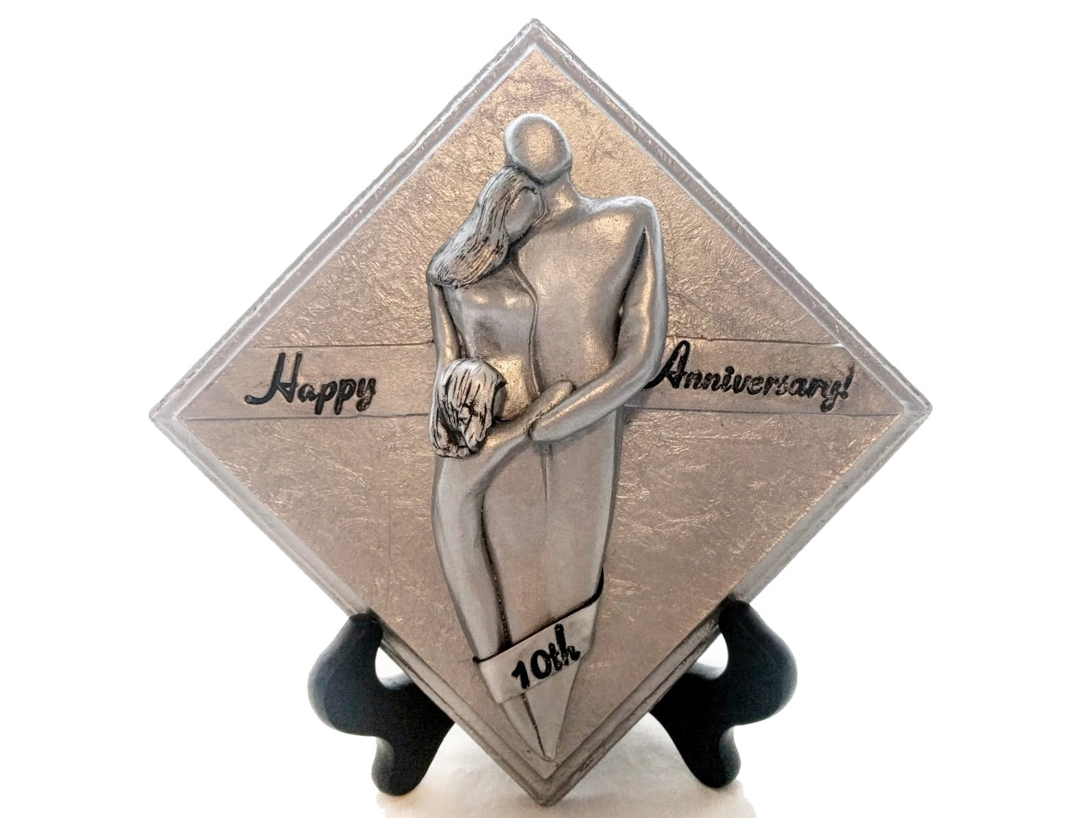10th Wedding Anniversary Gift For Him: Happy 10th Anniversary Family Of Three Plaque, Tin