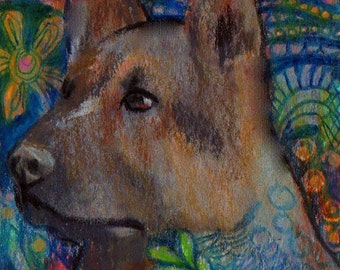 original art  drawing aceo german Shepard herding group westminster