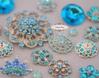 25pc Turquoise Aqua Peacock Blue Rhinestone Flatback  Buttons Brooch Metal Crystal Wedding Bouquet Teal Turquoise