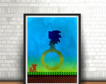 Sonic The Hedgehog Inspired Minimalist Art Print Sega Megadrive Classics