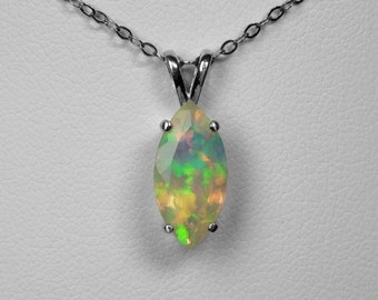 Opal Pendant / Ethiopian Opal / Sterling Silver / Marquise Cut / Muti Color Opal