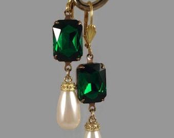 Wedding Green Rhinestone Earrings Pearl Earrings 1920's Inspired Jewelry Teardrop Pearls Swarovski Crystal Pearls