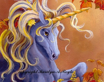 GICLEE PRINT - UNICORN; silver unicorn with golden mane, autumn leaves, warm color, 8 x 10 inches, wall art, fantasy