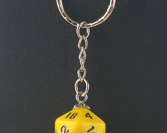 D20 Dice Dungeons & Dragons RPG Fantasy Solid Yellow Keychain