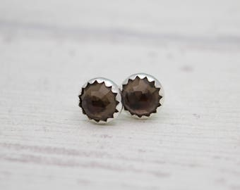 Smokey Quartz Stud Earrings - Silver Stud Earrings - Gemstone Earrings - Post Earrings - Smokey Quartz Jewelry - Sterling silver studs