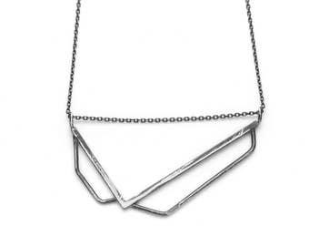 Silver V necklace - Silver V - Triangle necklace
